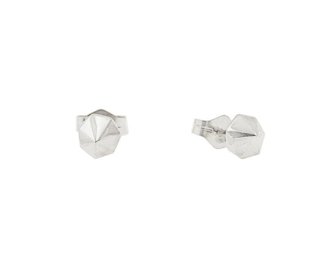 Tiny Sterling Silver Septagon Studs- Unisex