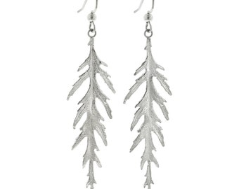 Sterling Silver Leaf Earrings- Long Japanese Maple Leaves