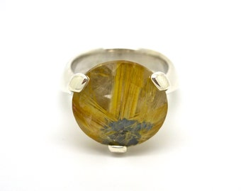 Big Bling Stone Ring// Sterling Silver and Rutilated Quartz // Hand Carved One of a Kind Cocktail Ring