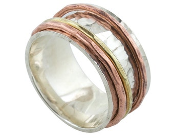 Tri Color Spin Ring in silver copper and brass made to order in your size