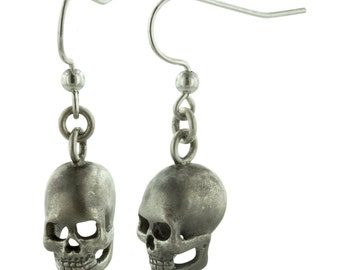 SKULLS // Hand Carved Sterling Silver Skull Earrings