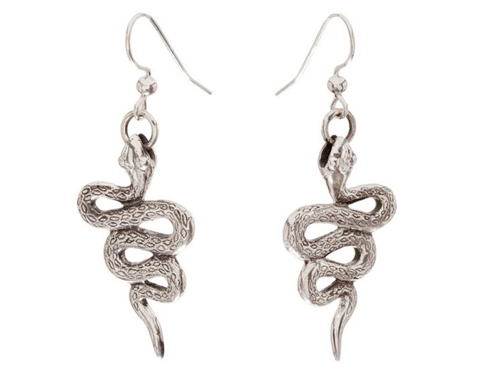 Handcarved Sterling Silver Snake Earrings