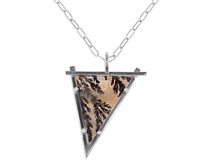 Dendritic Agate Pendant // Fractals in Quartz Stone Necklace // Big Stone, Long Chain