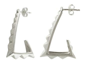 Pyramid Hoop Earrings in Sterling Silver // Big Bold 80s style