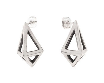 Large Silver Prisms // Geometric Modernist Studs