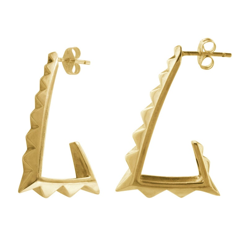 Gold Pyramid Hoops // 80's Style Big Triangle Earrings image 0