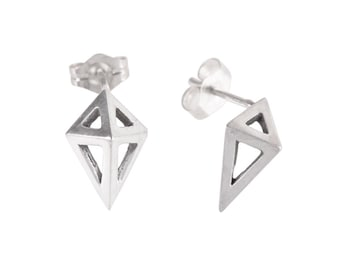 Small Prism Studs in Sterling Silver