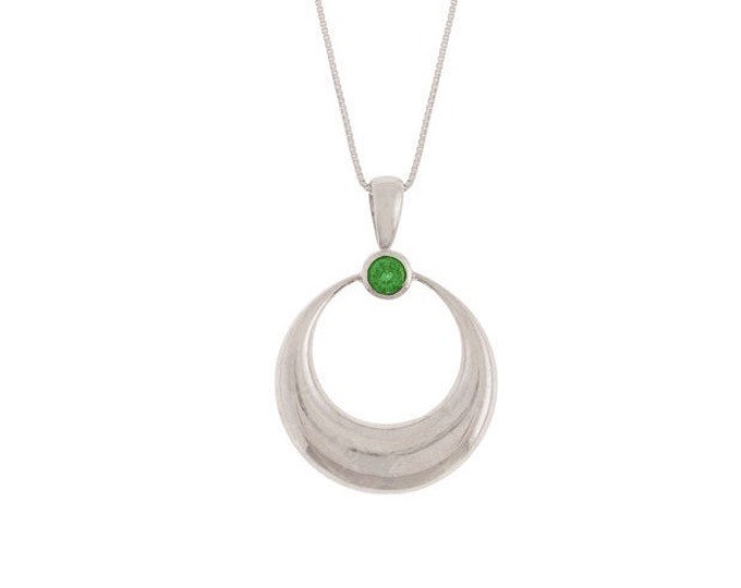 Sterling Silver Crescent Moon Pendant with Blue Topaz, Pink Tourmaline or Green Chrome Diopside