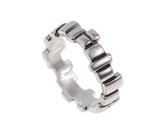Women's Building Blocks Sterling Silver Ring // Soft Squares Band