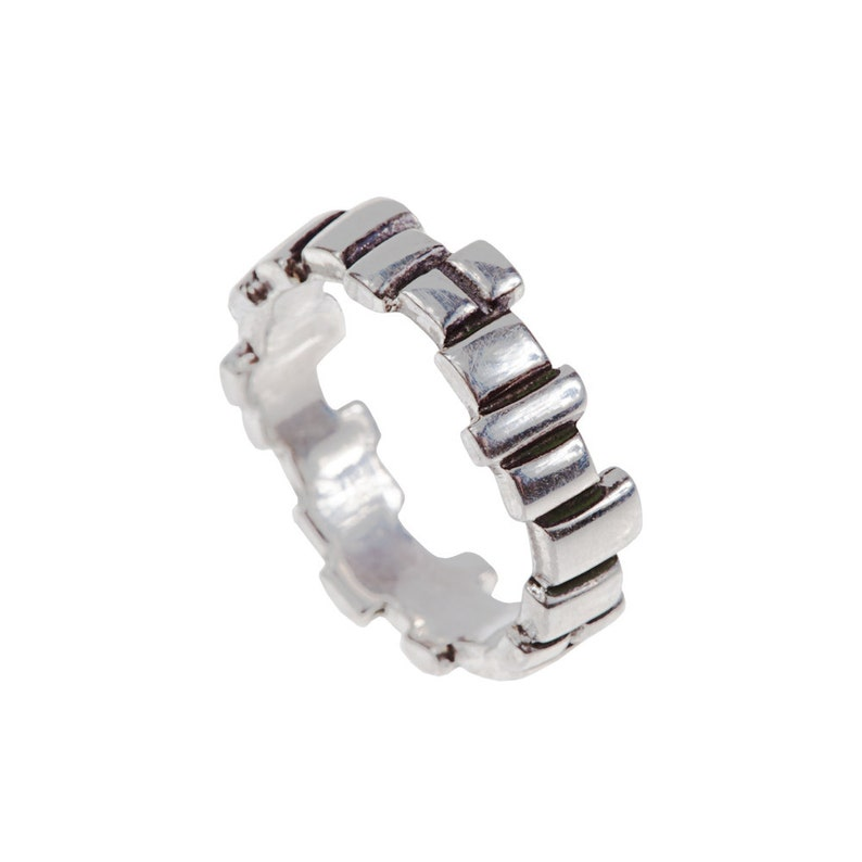 Women's Building Blocks Sterling Silver Ring // Soft image 0