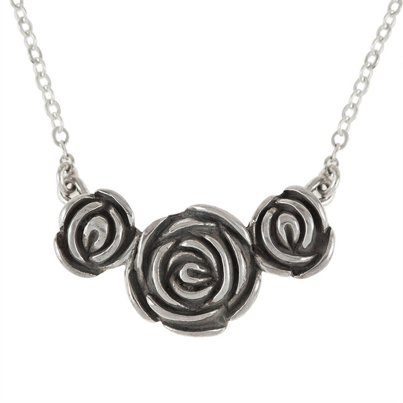 Three Roses Sterling Silver Goth Romance Pendant Necklace image 0