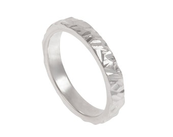 Rough Hewn Mens Wedding Band- Made to order in your size, material and dimensions