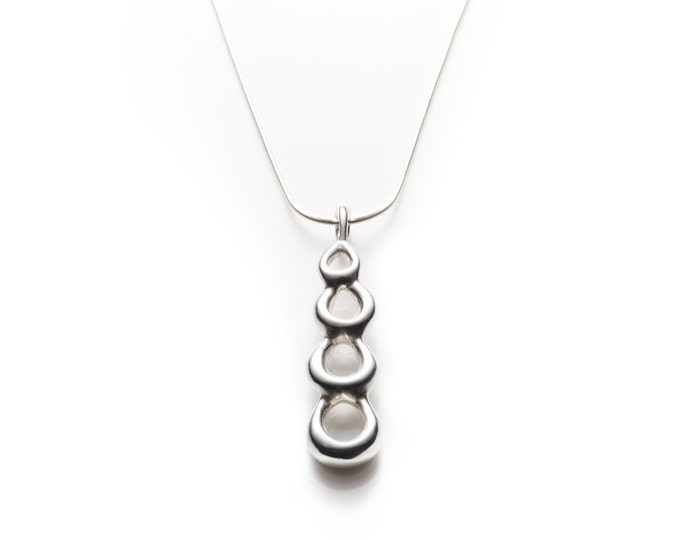Sterling Silver Pendant Necklace // Polished Drops