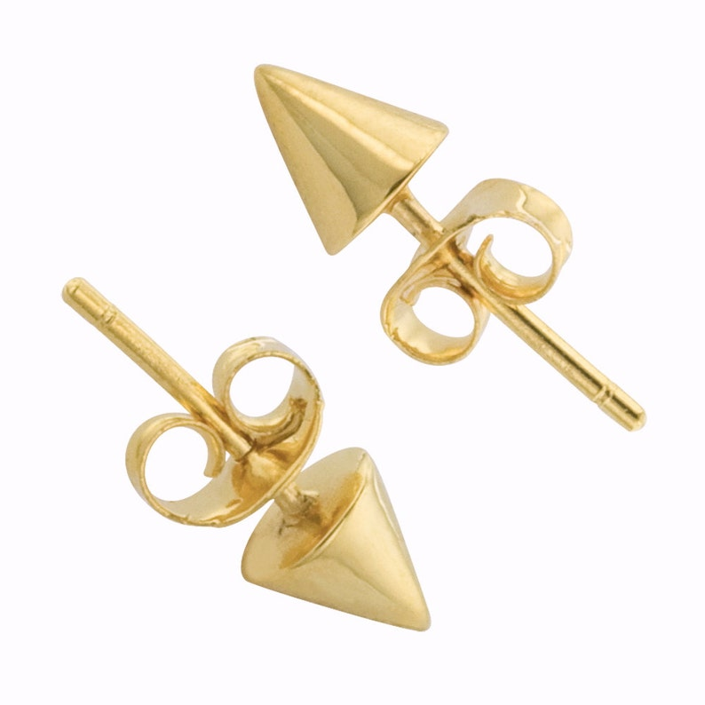 Tiny Spike Studs in 14k Gold yellow gold/ rose gold/ white image 0