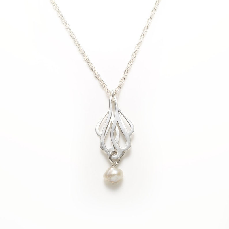 Sterling Silver Butterfly Wings Pendant with a Pearl Pendant image 0