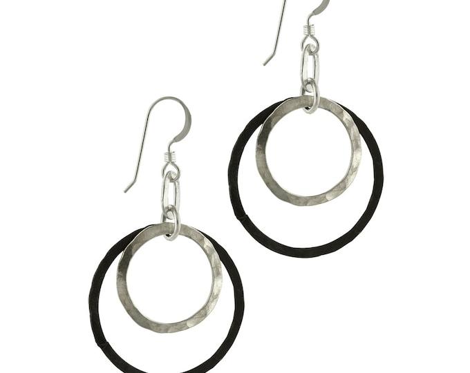 Black Silver Double Circle Earrings