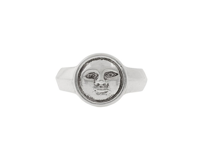Moon Face Ring in Sterling Silver