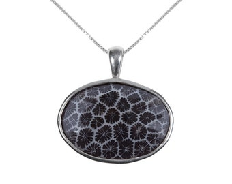 Black Coral and Sterling Silver Pendant Necklace