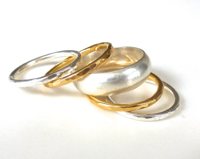 The Ultimate Stack Ring Set // 5 Sterling Silver and Gold Hammered Bands made to order in your size