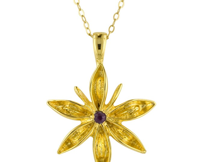 Small Gold Star Anise Seed Pendant Necklace