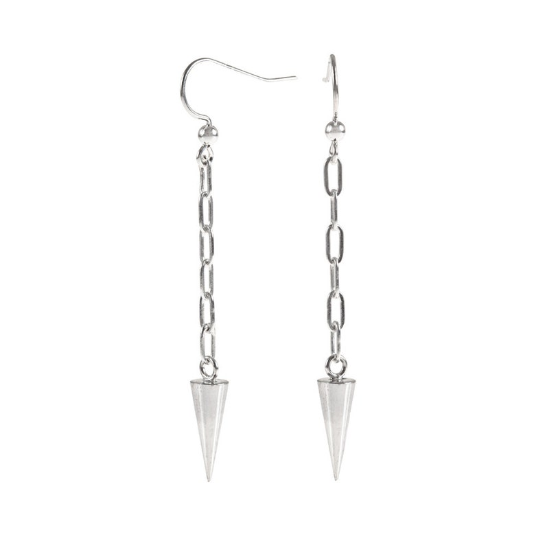 Long Sterling Silver Spike and Chain Earrings image 0
