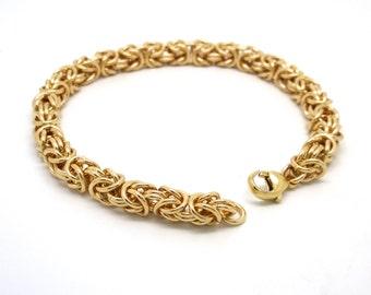 Gold Fill Chainmaille Bracelet // 14k Gold Fill Byzantine Link Chain Bracelet