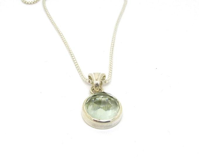 Rose Cut Green Quartz Necklace // Prasiolite Gemstone Pendant // Sterling Silver