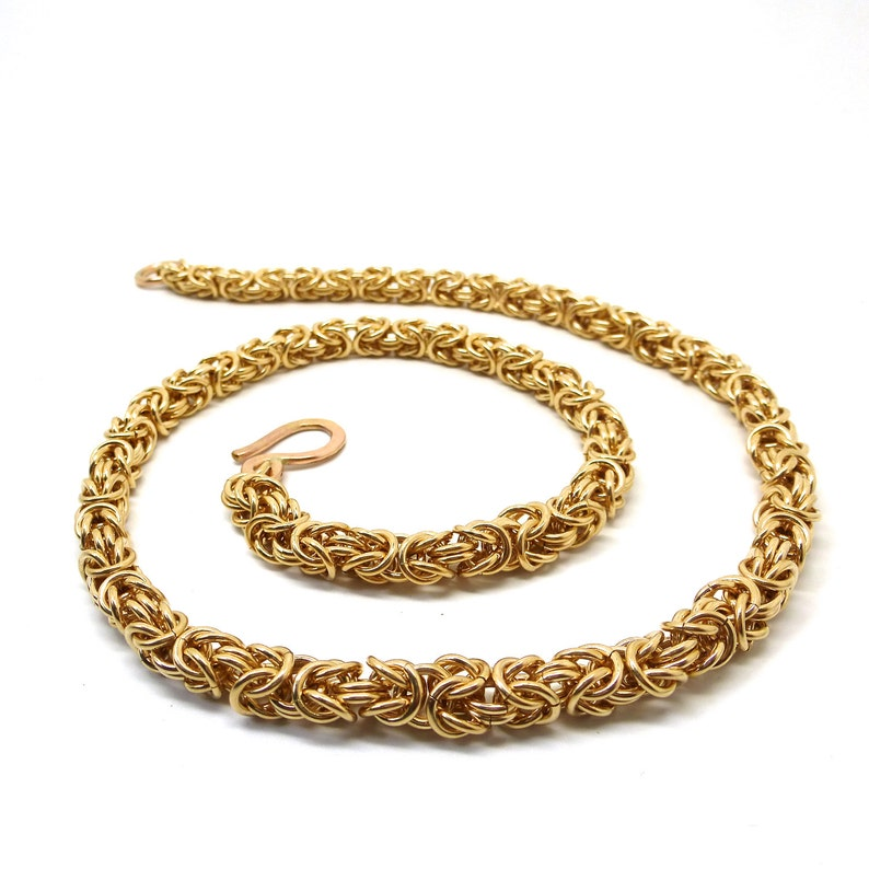 Gold Filled Byzantine Link Chainmaille Necklace image 0