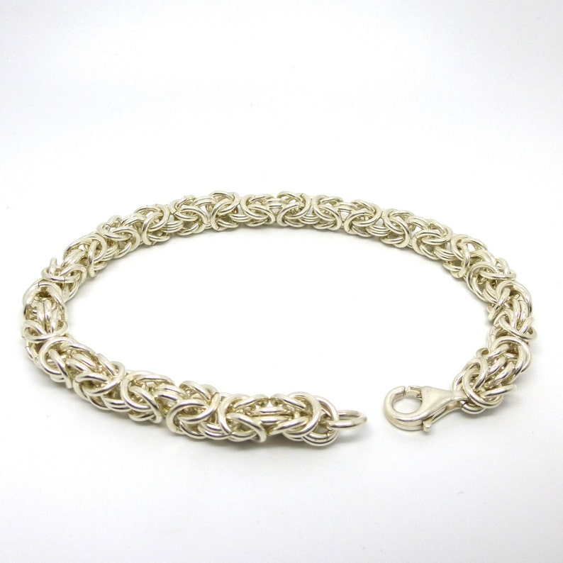 Silver Chainmaille Bracelet // Sterling Byzantine Link Chain image 0