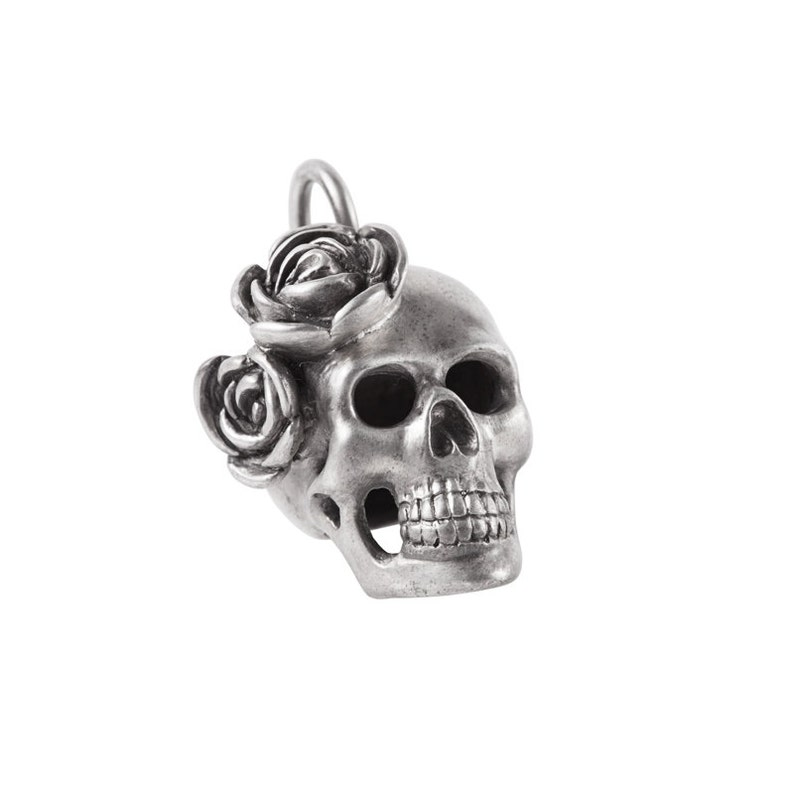 Big Sterling Silver Skull with Roses image 0
