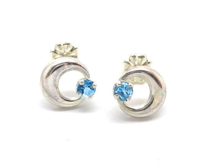 Moon and Star Studs- Small Silver Moons with Little Blue Topaz Stars
