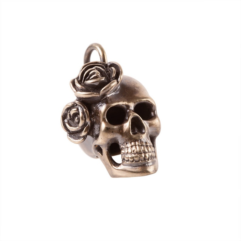 Big Brass Skull Pendant with Roses image 0