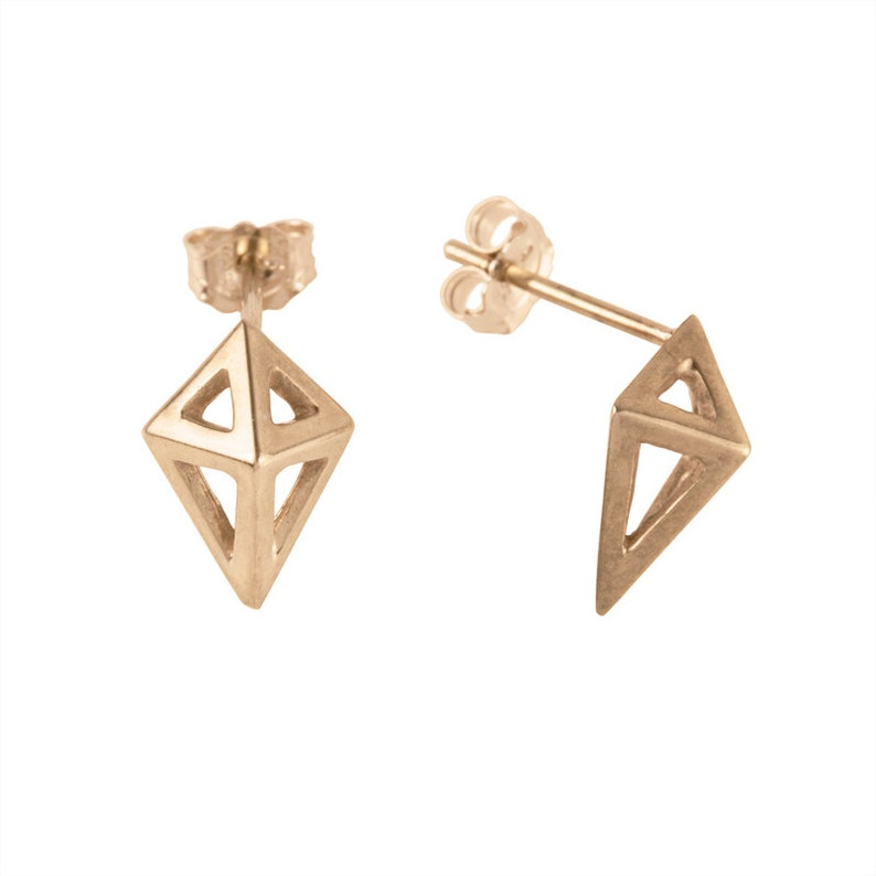 Small Prism Studs in Gold image 0