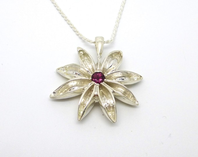 Sterling Silver Star Anise Pendant with Hot Pink Tourmaline