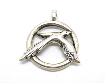 Sterling Silver Bird and Circle Pendant