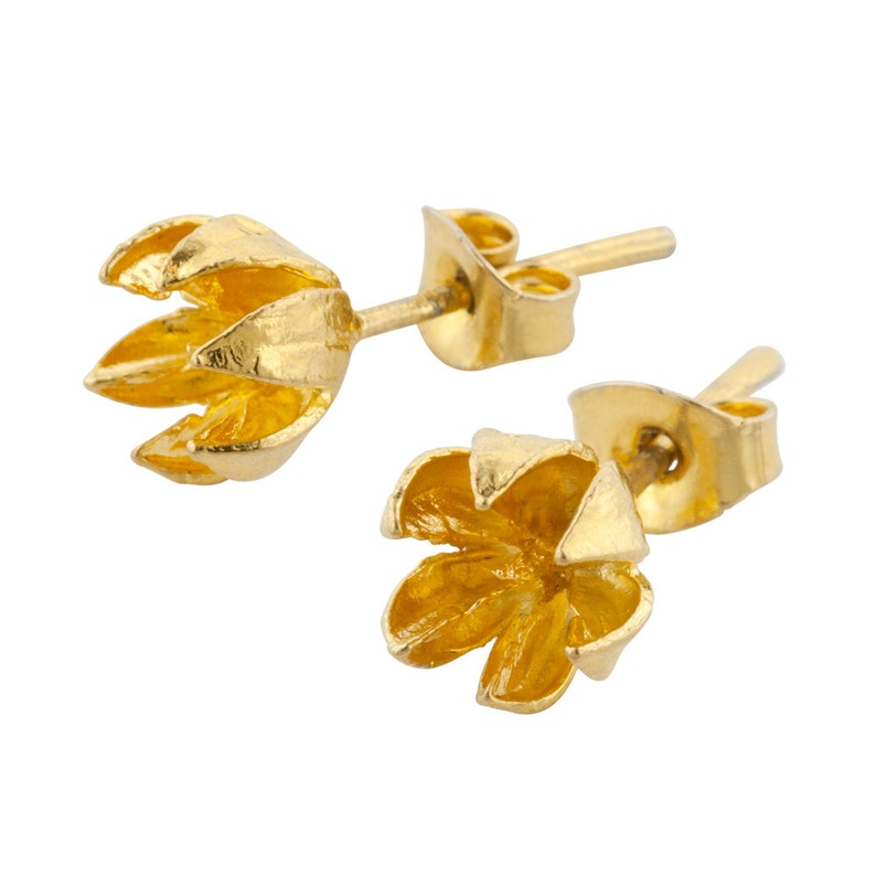 Small Gold Seed Pod Stud // Crepe Myrtle Earrings image 0
