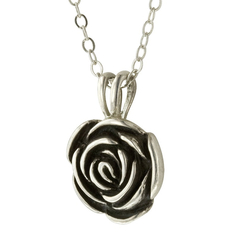 Sterling Silver Rose Pendant Necklace image 0