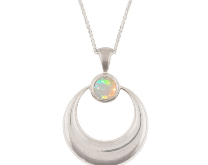 Opal Crescent Moon Pendant in Sterling Silver