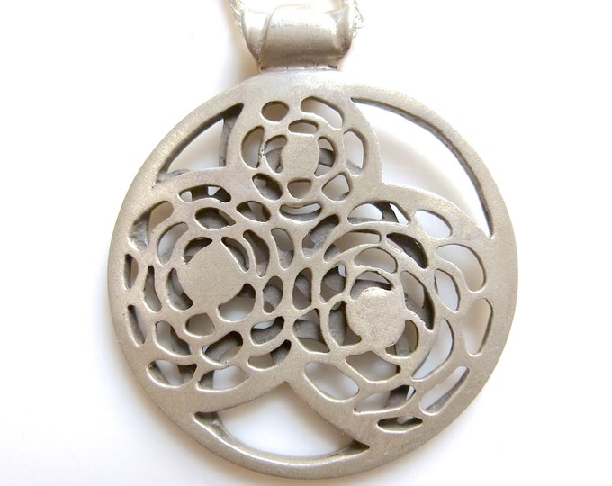 Leaves and Mums Sterling Silver Cut Out Pendant OOAK