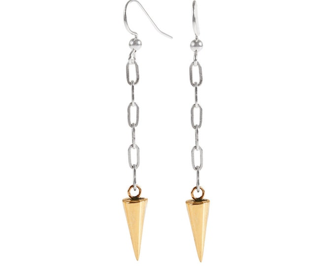 Long Brass Spike and Silver Chain Earrings