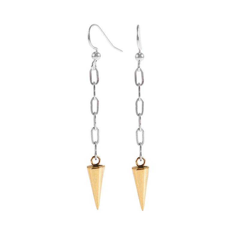 Long Brass Spike and Silver Chain Earrings image 0