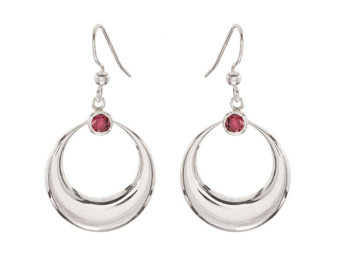 Sterling Silver Crescent Moon Earrings with Blue Topaz, Pink Tourmaline or Green Chrome Diopside