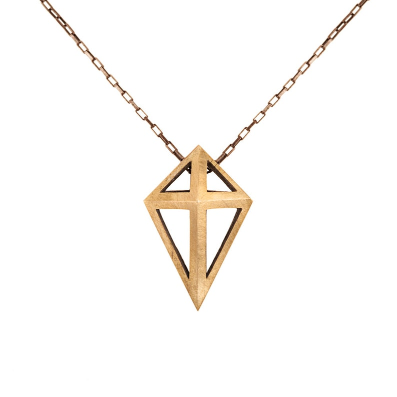 Open Prism Pendant in Sterling Silver and Brass // Long image 0