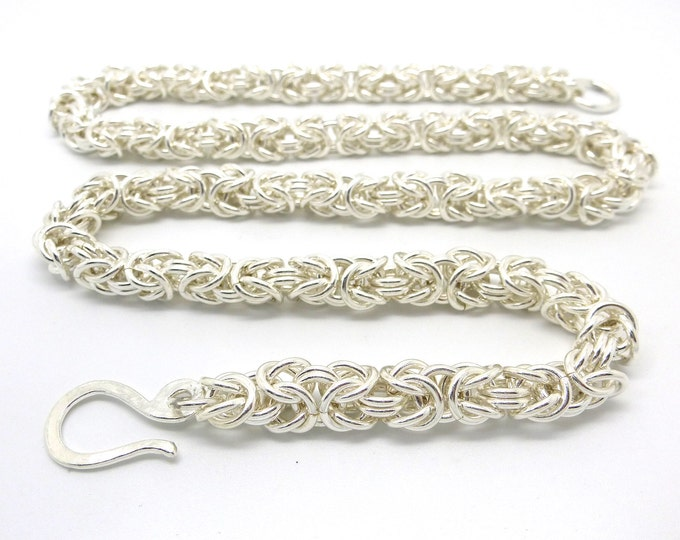 Sterling Silver Byzantine Link Chainmaille Necklace