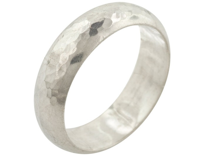 Hammered Sterling Silver Wedding Ring Band made to order in your size