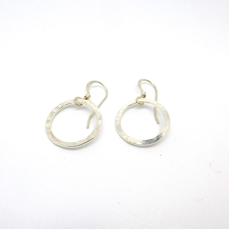 Simple Hammered Sterling Silver Circle Earrings image 0