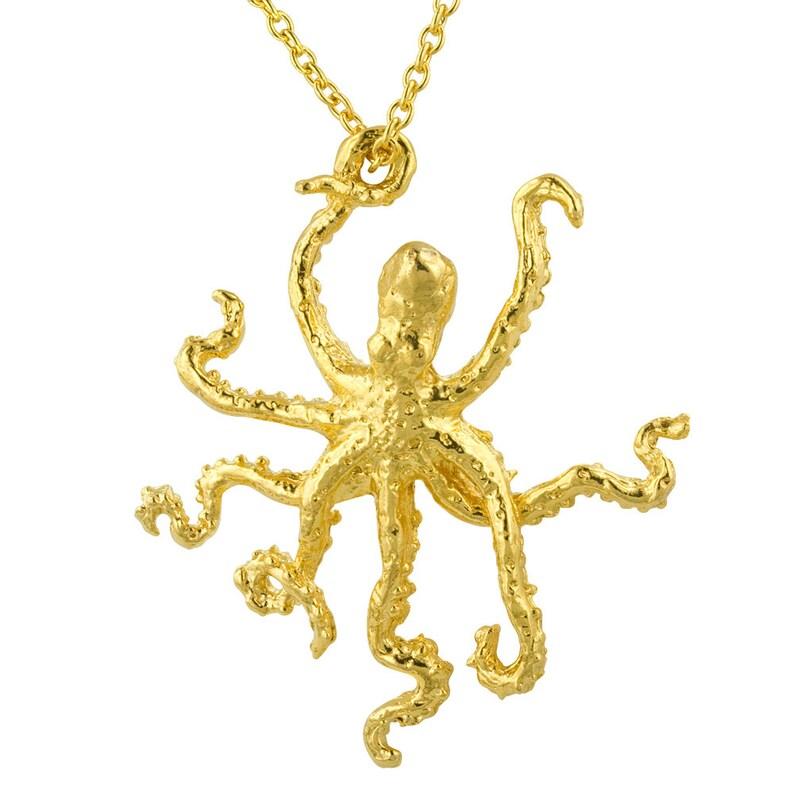 Golden Octopus Sculpture Pendant Necklace image 0