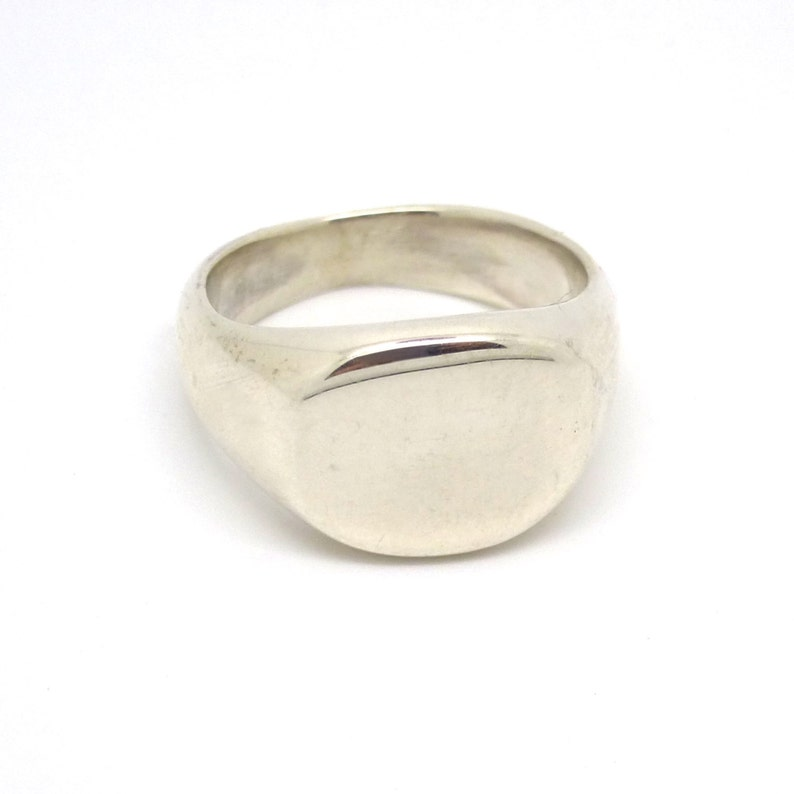 Silver Pinky Signet Ring with or without engraving image 0