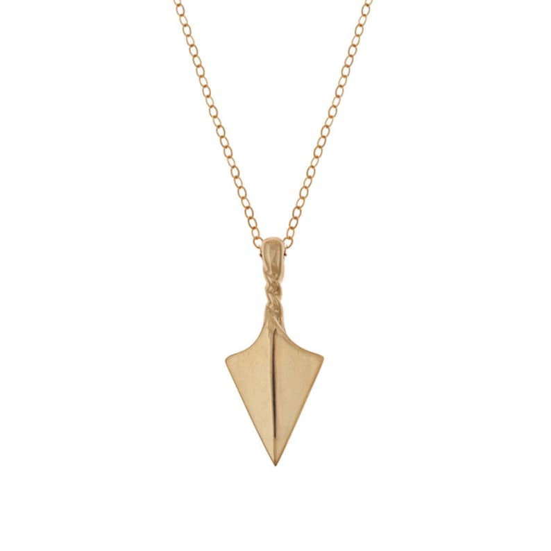 Arrow Point Talisman Necklace in Brass with Gold Fill Chain image 0