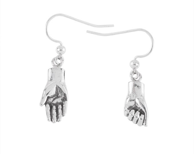 Tiny Hand Earrings- Give with your right hand, recieve with your left hand- handcarved sterling silver earrings
